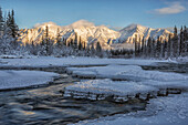 Sunset over the Wheaton River as the light hits Grey Ridge, near Whitehorse, Yukon, Canada