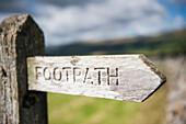 Sign post on public footpath near Hawes, North Yorkshire, England