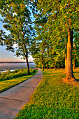 Walkway between Mississippi River viewing platforms at Pikes Peak State Park, near McGregor, Iowa, United States of America