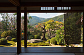 View from inside a Japanese temple over the garden, Ohara, Kyoto, Japan