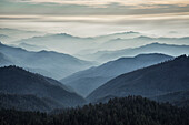The Eleven Ridges mountain range as seen from the top of Moro Rock in Sequoia National Park, California, United States