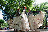 Women Wearing Traditional Dress Performing A Paraguayan Polka, Asuncion, Paraguay
