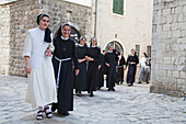 Nuns Walking Through The Streets Of Kotor, Montenegro