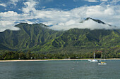 Sailboats and Hanalei Beach in the bay and valley, Hanalei, Kauai, Hawaii, United States of America