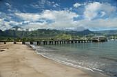 Hanalei pier, Hanalei Beach, Bay and Valley, Hanalei, Kauai, Hawaii, United States of America