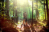 Couple hugging in sunny forest