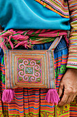 Close up of woman wearing traditional purse and dress