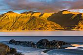 Sunset along Turnagain Arm and view of Kenai Mountains, Chugach State Park, Southcentral Alaska