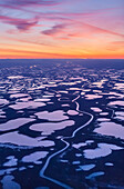 Aerial view of sunset over the wetlands of the Selawik National Wildlife Refuge, Kotzebue, Arctic Alaska, USA, Fall
