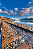 Railroad tracks along Turnagain Arm and the Seward Highway near Anchorage, Southcentral Alaska, Spring, HDR