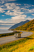 Recreational Vehicle on the Seward Highway along Turnagain Arm section of the Cook Inlet on a Fall day in South Central Alaska, HDR