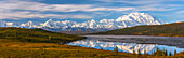 Panoramic autumn view of Mt. McKinley and Wonder Lake at sunrise, Denali National Park, Interior Alaska