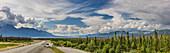 Panorama scenic of the Alaska Highway and Kluane Lake in the distance, Yukon Territory, Canada, summer