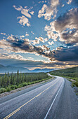 Evening sunset view of the Alaska Highway near Kluane Lake, Yukon Territory, Canada, HDR