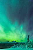 Green northern lights over the Copper River and Wrangell Mountains near Glennallen, Southcentral Alaska, USA, Winter