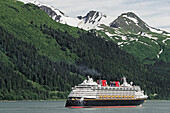 'Disney Cruise Lines ship ''Wonder'' leaving Juneau, Gastineau Channel, Southeast Alaska'