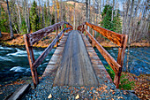 Resurrection Pass Trail Bridge Over Resurrection Creek Near Hope, Southcentral Alaska, Fall Hdr