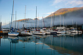 The waterfront of Seward, Alaska, with Mount Marthon in the background.