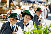 Young boys in traditional clothes at the traditional prozession, Garmisch-Partenkirchen, Upper Bavaria, Bavaria, Germany