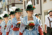Women wearing traditional clothes, traditional procession, Garmisch-Partenkirchen, Bavaria, Germany