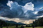 Thunderstorm, Geroldsee, Wagenbruechsee, Kruen, near Garmisch-Partenkirchen, Upper Bavaria, Bavaria, Germany