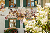 Painted mural on a house wall, Mittenwald, Upper Bavaria, Bavaria, Germany