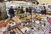 Market stall at Market Place Richelme, Deli Food, Sausages, Aix en Provence, Bouche du Rhone, Cote d'Azur, France