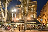 Les Deux Garcons, Street Cafe, Cours Mirabeau, Boulevard in the evening, Aix en Provence, Cote d'Azur, France