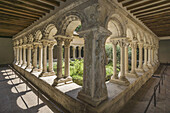 Romanesque cloisters in the Cathedral of the Holy Saviour, Cathedrale Saint Sauveur, in Aix en Provence, Provence-Alpes-Cote d'Azur, France