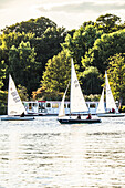 sailing boats and pleasure boat on the Outer Alster, Hamburg, north Germany, Germany