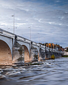 Pont Wilson in Tours with the waters of the River Loire flowing briskly underneath, Tours, Indre et Loire, France, Europe