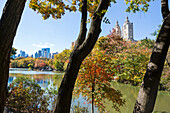 The Lake in autumn with colourful trees and landscape, skyline, Central Park, Manhatten, New York City, USA, America