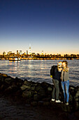 view to Manhattan from the State of New York - East River State Park, beach, East River, Empire State Building, sunset, Williamsburg, New York City, USA, America