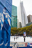 ice skating in Bryant Par in Winter, Manhattan, New York City, USA, America