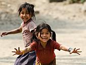 Small girls playing, Nepal, Himalaya, Asia