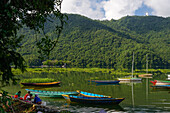 Wooden boats on lake Phewa next to the second largest city in Nepal, Pokhara, Nepal, Himalaya, Asia