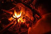 Campfire hearth, Nepal, Himalaya, Asia