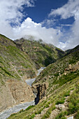 The Labse Khola valley along which a path runs from Nar over the Teri La pass to Mustang, Nepal, Himalaya, Asia