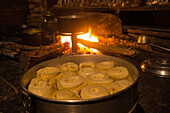 Ting momos next to the Kitchen fire, woodfire, Nepal, Himalaya, Asia