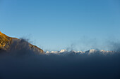View from the High Camp onto Mustang Himal on the way from Nar over Teri Tal to Mustang, Nepal, Himalaya, Asia