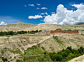 King's Palace and monastery, gompa of Lo Manthang (3840 m), former capital of the Kingdom of Mustang and residence of the King Raja Jigme Dorje Palbar Bista in the Kali Gandaki valley, the deepest valley in the world, fertile fields are only possible in t