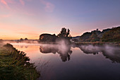 Morning mist, Ruhr river with Blankenstein castle, near Hattingen, Ruhr area, North-Rhine Westphalia, Germany