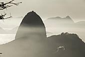 Airliner landing in Rio de Janeiro, Brazil, South America