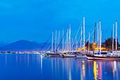 Boats in harbour, Fethiye, The Aegean Turquoise coast, Mediterranean region, Anatolia, Turkey, Asia Minor, Eurasia