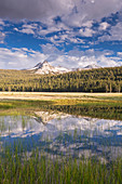 Cathedral Peak reflected in seasonal ponds on Tuolumne Meadows, Yosemite National Park, UNESCO World Heritage Site, California, United States of America, North America