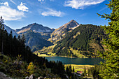 view on lake Vilsalpsee with Rauhhorn, and Geisshorn in fall, Tannheim Valley, Alps, Austria, Europe