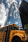 Battery Park Skyscraper,old schoolbus, Downtown, Manhattan, New York, USA