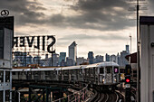 Subway in Brooklyn, View to Midtown, Manhattan, New York, USA