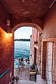 Restaurant terrace along the Adriatic coast, Rovinj, Istria, Croatia