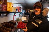 Strawberries offered by the Fruitman in Tuktoyaktuk in wintertime, Inuvik region, Northwest Territories, Canada